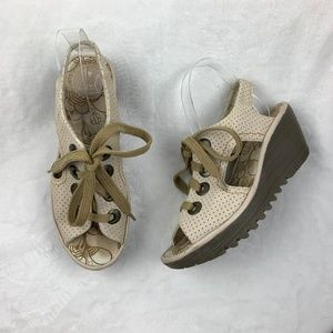 Fly London Shoes - Fly London Ylva Perforated Leather Wedges Sz 37